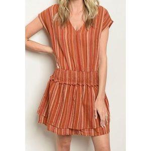 Dresses & Skirts - ✨MultiColor Brick/Orange Striped V-Neck Dress ✨